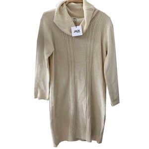 Cream Cowl Neck Sweater Dress